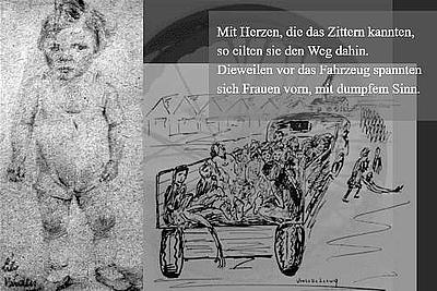 Kinder hinter dem Leichenkarren