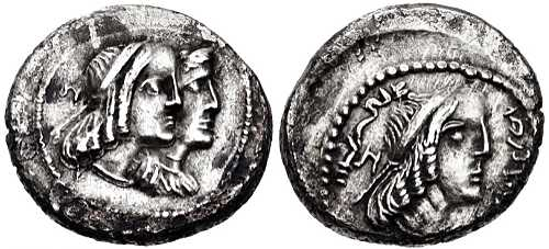 Silver coin: Obodas II with wife